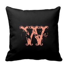 Rustic Monogram - Pink & Black Pillow