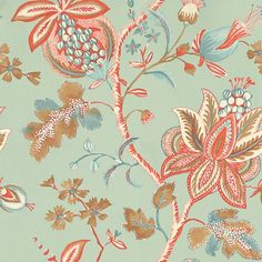 Donegal (T13003) - Thibaut Wallpapers - A bold large scale stylised floral trail in beautiful aqua with orange and beige. Please request a sample for true colour match. This is an American wallcovering and will take between 7-10 working days for delivery. Wide width.