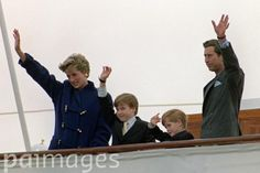 Library filer ref 251018-23, dated 27.10.91, of the Prince and Princess of Wales with their sons, Princes William (left) and Harry, onboard the Royal Yacht Britannia in Toronto. The princess was killed in a car crash in Paris earlier today (Sunday). Photo by Martin Keene/PA.