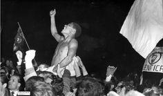 Benfica, Real Madrid (resultado 5-3). Benfica jogador Eusébio Ferreira da Silva gritos de alegria. Estádio Olímpico de Amesterdão, 02 de maio de 1962