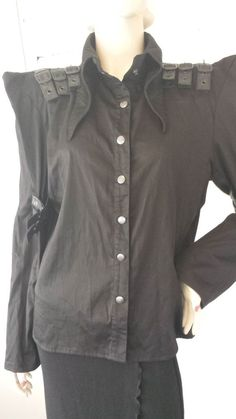 NEW NWT Bat Attack Fashion From The Crypt Goth Gothic Black Frozen Heart Top L #BatAttack #Blouse #Clubwear