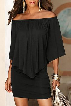 Black Off The Shoulder Ruffles Overlay Design Mini Dress