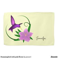 Hummingbird with pink flower towel