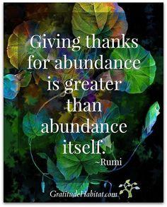 Giving thanks for abundance  is greater than abundance itself. -Rumi