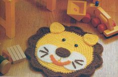 Crochet Lion, Crochet For Kids, Diy Crochet, Crochet Crafts, Crochet Toys, Crochet Projects, Crochet Rug Patterns, Doll Patterns, Painted Baskets
