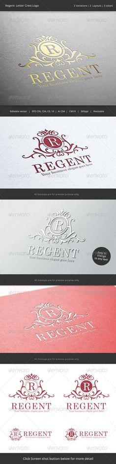 Regent  Letter Crest Logo — Vector EPS #regent #leader • Available here → https://graphicriver.net/item/regent-letter-crest-logo/6944699?ref=pxcr