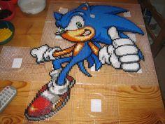 Sonic Bead Sprite pre-iron by ~Zakkyy on deviantART