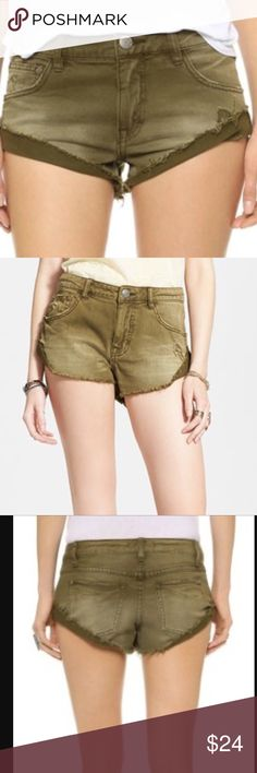NWT Free People Army Shorts Free People shorts in stretch denim in an army green color. Size 25 but runs a bit big, can fit a 26 too I'm sure. Feel free to ask for measurements if you need them! Free People Shorts Jean Shorts