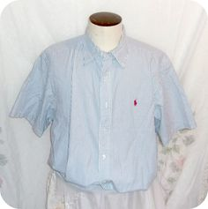 RALPH LAUREN Shirt Size XL Mens Blue White Striped Short Sleeve Cotton #RalphLauren #ButtonFront