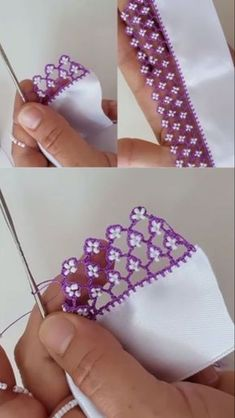 Crochet Lace Edging, Crochet Motifs, Crochet Borders, Bead Crochet, Crochet Doilies, Crochet Flowers, Crochet Stitches, Crochet Patterns, Embroidery Stitches