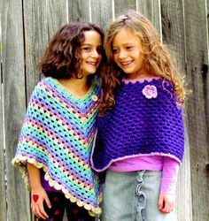 Hand Knit girls Cape in stunning Sparkle Purple by FairyOfColor, $69.00