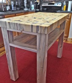 "Butcher Block Kitchen Island - 3"" thick end grain blocks - handmade from recycled beetle kill wood - custom sizes available"
