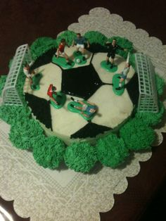 "Soccer Cake  10"" round cake for soccer ball  regular size cup cakes for grass"