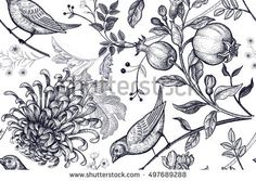 vintage japanese chrysanthemum flowers pomegranates branches leaves and birds. illustration for fabrics phone case paper gift packaging textiles interior design cover. Japanese Chrysanthemum, Chrysanthemum Flower, Floral Vintage, Vector Pattern, Vintage Japanese, Pomegranate, How To Draw Hands, Cover, Royalty Free Stock Photos
