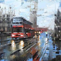 Double-Decker in the Rain by Mark Lague Oil ~ 11 x 11