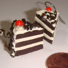 """Black Forest chocolate cake earrings. Hand-sculpted polymer clay by  Lauren Swingle-The Clay Collection store on Etsy.  mods avail.:  hypoallergenic 100% sterling silver 925-+$3, pendant/charm-$9 +18"""" silver-plate chain-$13/sterling-$19, +black cell strap- $11, cufflinks-$17+, + misc.: magnet, keychain, pin figurine, etc. + individualized personal customization avail. on req. ($?)-msgs., names, etc."""