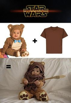 Star Wars fans probably already know that ewoks are a species of bipeds in the Star Wars universe that are essentially teddy-bear-like hunter-gatherers who inhabit the forest moon of Endor. This is how to turn your child into one in 2-steps: buy a teddy bear costume and brown shirt. For added effect, you could also create a cardboard spear.