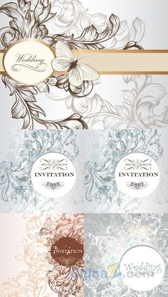 Elegant wedding invitation card vector design