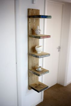 Futurustic floating scaffold board shelving unit. by Naturalcity Garage Storage Solutions, Diy Garage Storage, Garage Shelving, Storage Ideas, Garage Organization, Home Decor Furniture, Pallet Furniture, Build A Dog House, Scaffold Boards