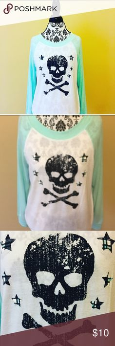 Mint White Raglan Sweatshirt by No Bo Brand New ~ Mint White Raglan Sweatshirt by No Boundaries ~ Skull Designs ~ Size: Juniors M (7-9) No Boundaries Tops Sweatshirts & Hoodies