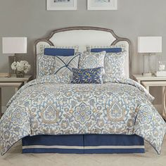 Introduce a fascinating appeal to your bed space with the Janine Comforter Set from Croscill. The bedding features a distressed damask motif on a textured ground in shades of blue, ivory and taupe, and trimmed with a solid blue covered cord. Blue Comforter Sets, Bedding Sets, Blue Bedding, Mattress Brands, Space Furniture, Bed Sizes, California King, Bedding Collections, Decoration