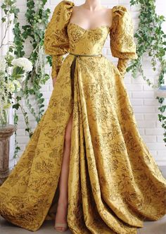 Sleeved Serafina Gown Details – Bumblebee dress color – Taffeta dress fabric – Puffy sleeves and a dark green ribbon detail – Open leg and waist definition – For special occasions Elegant Dresses For Women, Pretty Dresses, Evening Dresses, Prom Dresses, Formal Dresses, Modern Filipiniana Gown, Vetement Fashion, Taffeta Dress, Gowns With Sleeves