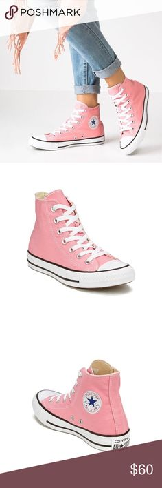 Pink Converse High Tops Converse Chuck Taylor High Tops in Daybreak Pink. Brand new, never worn. Men's 6, Women's 8. Converse Shoes Sneakers