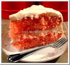 Old Fashioned Strawberry Cake      3/4 cups butter at room temperature     1/2 cup vegetable oil     3 cups sugar     5 large eggs     3 cups flour (cake flour if you have it)     1/4 tsp. baking soda     1/4 cup half and half     2 tbsp. strawberry gelatin (you know, that wiggly jiggly stuff)     1 cup  pureed strawberries (fresh is best, but frozen works well too)     1 tsp. vanilla     1/2 teaspoon red food coloring