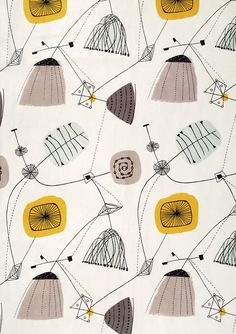 1953 Lucienne Day 'Perpetua' fabric design for Heals. Lucienne Day, Motifs Textiles, Textile Patterns, Textile Prints, Print Patterns, Patterns Background, Background Vintage, Boho Pattern, Retro Pattern