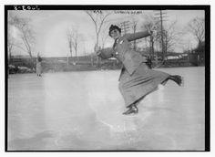 A Mrs. Cunningham skating, c. 1910-1915