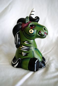 Zombie Ceramic Unicorn. $12.00, via Etsy.