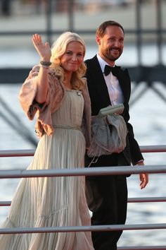 Crown Princess Mette-Marit of Norway and Crown Prince Haakon arrive at the Muziekbouw following the water pageant after the abdication of Queen Beatrix of the Netherlands and the Inauguration of King Willem Alexander on April 30, 2013 in Amsterdam.