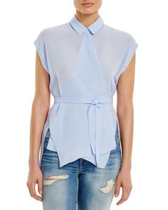 Asymmetric angles revitalize the crisp-and-classic shirt on T by Alexander Wang's exclusive-to-Bloomingdale's georgette wrap blouse. #100PercentBloomies