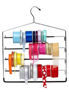 Pants Hanger For Ribbon Storage. Tie a pair of scissors to the top of the hanger so you can snip and go. Ribbon Organization, Ribbon Storage, Clutter Organization, Home Organization Hacks, Organizing Tips, Kitchen Organization, Craft Room Storage, Storage Ideas, Craft Rooms