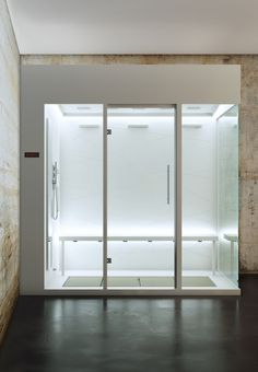 Bathroom, Glass Stall Stainless Steel Hand Shower Bathroom And Dark Gray Concrete Floor ~ Luxurious White Bathroom Design incorporating Neat and Clean Look