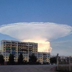 "Mushroom Cloud of Doom -- Does this cloud look like a mushroom in the sky? It appeared over Russia last month and had locals fearing that ""doomsday"" had arrived. However, this 'mushroom cloud' was just a cloud, albeit a massive cumulonimbus cloud. -- By  Evelyn Browing Garriss and James J. Garriss, Old Farmer's Almanac -- saved 10-15-16"
