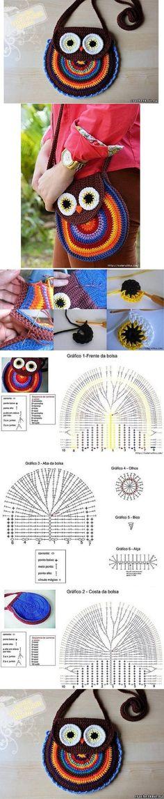 Luty Artes Crochet: Passo a passo bolsa de coruja em crochê.: