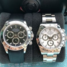 Whats better than one Daytona? Black or white? Im going with the black one for this reference ⚫ Rolex Daytona, Rolex Tudor, Swiss Made Watches, Sports Models, Rolex Submariner, Watch Bands, Photo Credit, Rolex Watches