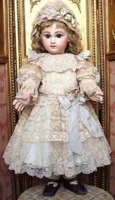 Sweet antique French Jumeau Bebe in amazing  antique lace dress