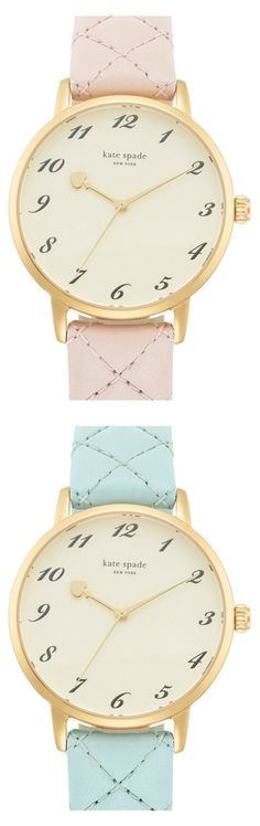 Trying to decide between blush pink or pretty pastel blue | Kate Spade 'Metro' quilted leather strap watch.