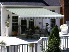 Awnings: Good Deck And Patio Awning Without Legs And White Wood Fence In Outdoor For Best Home from The Deck Awnings for the Best Relaxation Place
