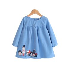 Sweet Long-sleeve Dress with Vintage Houses Stamp in Blue or Pink to Girls Dresses, Summer Dresses, Baby Kids, Vintage Houses, Blouse, Sweet, Cute, Pattern, Pink