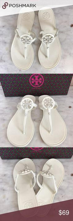 Tory Burch jelly thong sandal Flip flops cream Like new condition. Authentic Tory burch. Jelly thong sandal. Waterproof. Comes with original box Tory Burch Shoes Sandals