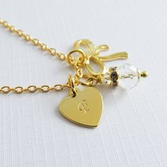 Personalized Flower Girl Necklace, Bridal Jewelry, Personalized Wedding Jewelry, Gold Plated Initial Necklaces, Bow Jewelry