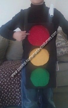 Homemade Traffic Light Costume: I usually make my son's costume, but this year he was old enough to participate in the creation. A Traffic Light Costume popped into his head, I thought