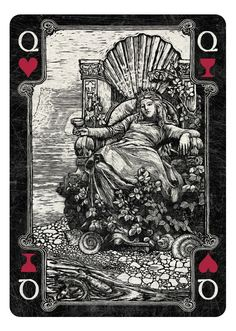 Arcana Playing Cards Queen of Hearts/Cups dark