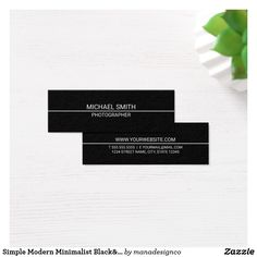 Stylish Black and White Mini Business Card Template. Perfect for a designer, fashion stylist, makeup artist and many other professions.| Zazzle: manadesignco