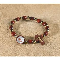 Pope Francis Wooden Stretch Rosary Bracelet