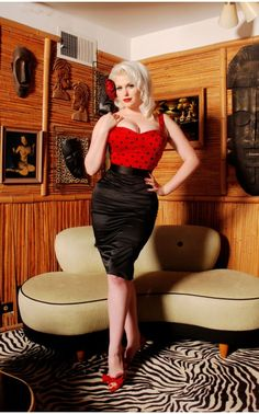 Vamp Top in Red with Black Dots - Separates - Clothing | Pinup Girl Clothing