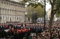 Crowds: Soldiers, military bands, veterans, politicians and members of the public all gathered by the national memorials to the fallen